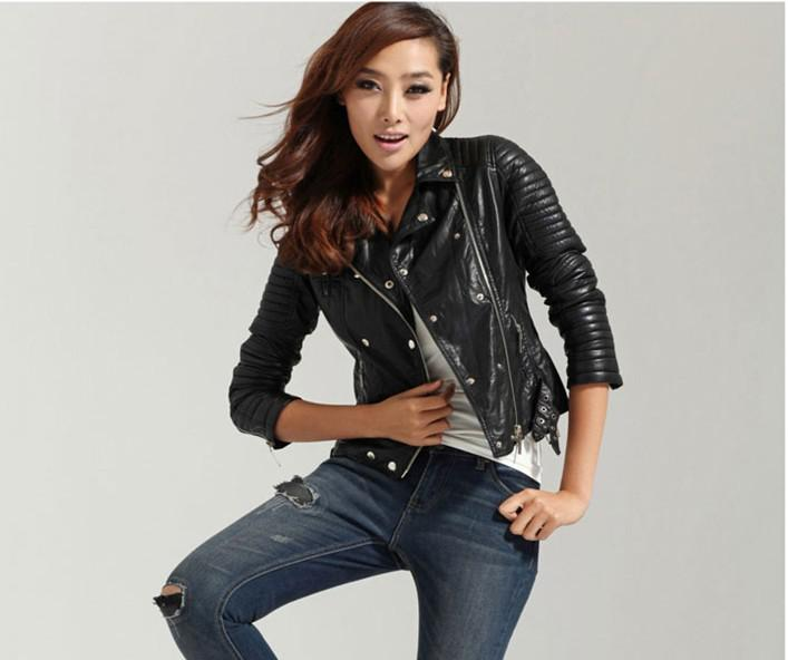 Women's double breasted leather jacket