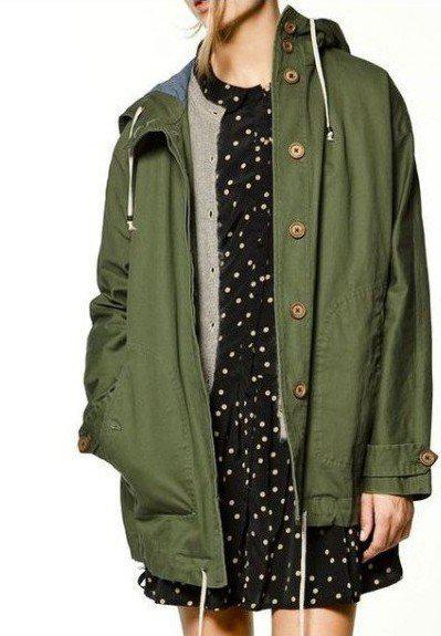 Free Shopping Women Classic Button Rain Coat Army Green Hooded ...