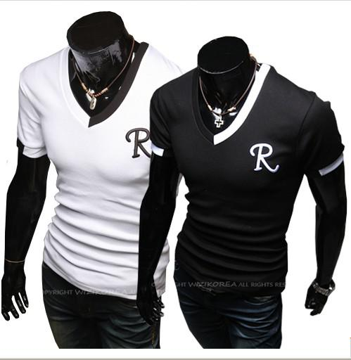 Color Matching Collar Design Man V Neck T Shirts Men Tees T Shirts ...