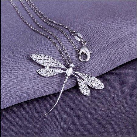 Forme a joyería el collar pendiente de la libélula de plata 925 el envío libre de calidad superior /