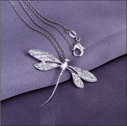 Wholesale Dragonfly Pendant 925 Silver Necklace - Fashion jewelry 925 silver dragonfly pendant necklace Top quality free shipping 10pcs lot