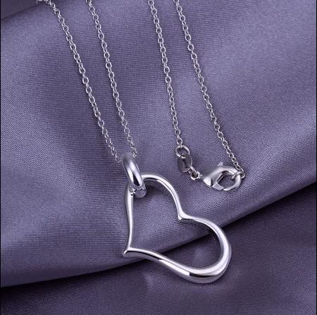 Preço de fábrica 925 de prata pingente de coração colar de moda mulher jóias frete grátis 10 pçs / lote