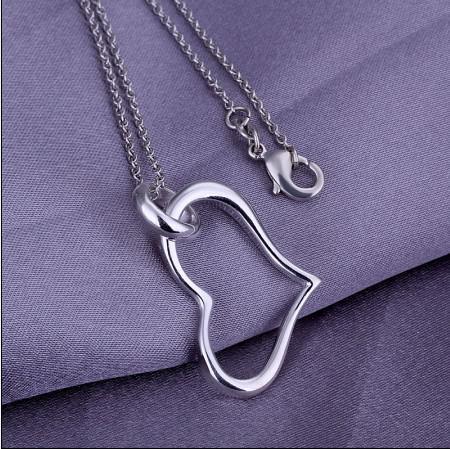 Precio de fábrica 925 corazón de plata colgante de collar de joyería de mujer de moda envío gratis 10 unids / lote