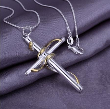 Precio de fábrica 925 collar de cadena de serpiente de plata dicroico torcido cuerda cruz colgante envío libre