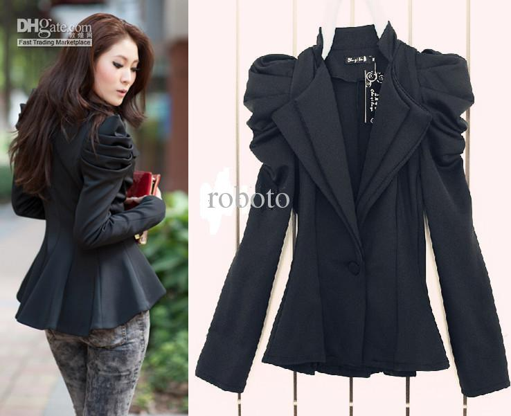 2016 Amazing! Ladies Black Suit Blazer One Button Shrug Shoulder ...