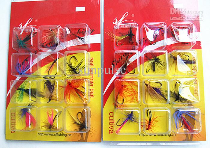 Fishing Lure Feathers Bait Flies Shape Fishing Tackle Single Hook Tie Feathers 12 pezzi / cartoncino