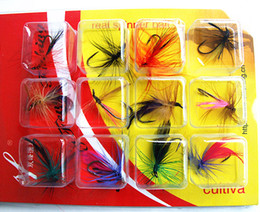 Wholesale Wholesale Fly Tying Feathers - Fishing Lure Feathers Bait Flies Shape Fishing Tackle Single Hook Tie Feathers 12 pieces card