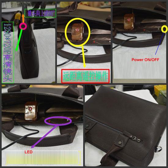 1280x720P 8GB HD Leather bag spy Hidden Camera DVR Recorder with Remote Control