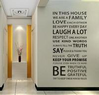 vinyl-gehäuse aufkleber großhandel-Familie Haus Regeln Aufkleber Wand Aufkleber Abnehmbare Art Vinyl Decor Home Kids 150 * 60 cm 8011