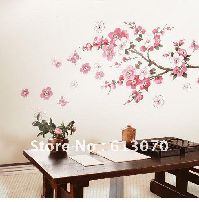 24*36 Flying Peach Flower Wall Stickers Pink Tree Sticker Living Room  Poster Walls Decals Promotio Custom Wall Stickers Customized Wall Decals  From ... Part 3
