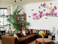 Wholesale Decorative Listing - [listed in stock]-90x60cm Decorative Purple Magnolia flower & butterflies Home wall decor