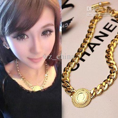NEW!Fashion Hip Hop Gold Plating Chunky Necklace Collar Royal Queen Pendant Choker Chain Necklaces For Men
