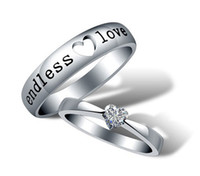 Wholesale Endless Love Rings - NEW!Fashion 925 sterling Silver 30% White GOLD plating Endless Love Wedding Gemstone Couple Rings 10pcs Free Shipping