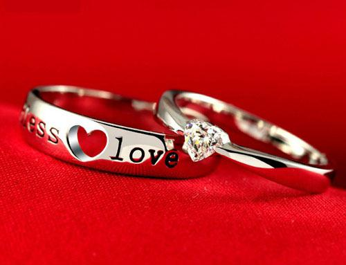 NEW!Fashion 925 sterling Silver 30% White GOLD plating Endless Love Wedding Gemstone Couple Rings