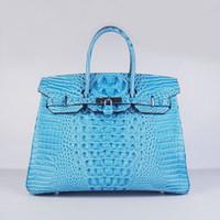 Wholesale Lighting Head Bag - Designer women leather handbag Crocodile Head cow leather bag Luxury fashion bag 35cm width light blue free shipping