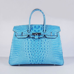 Wholesale Lighting Head Bag - Designer women leather handbag Crocodile Head cow leather bag Luxury fashion bag 35cm width light blue free shipping