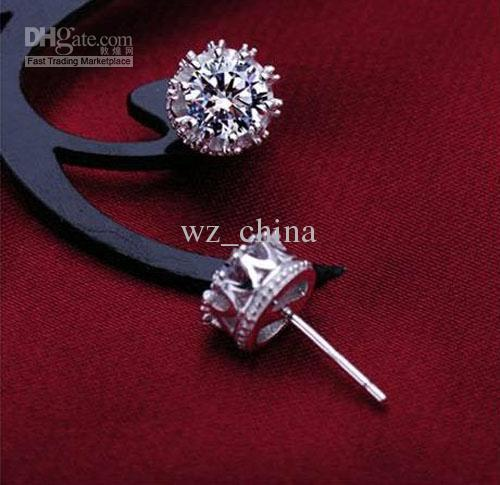 1CT cristal autrichien boucles d'oreilles en argent Sterling 925 placage 30% or blanc couronne de mariage boucle d'oreille de fiançailles éléments de bijoux
