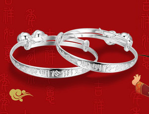 Wholesale babies bracelets resale online - White Gold Cuff Bangles Sterling Silver Plating Baby Charm Bangle Bracelets Chinese Vintage Style For Girls Boys