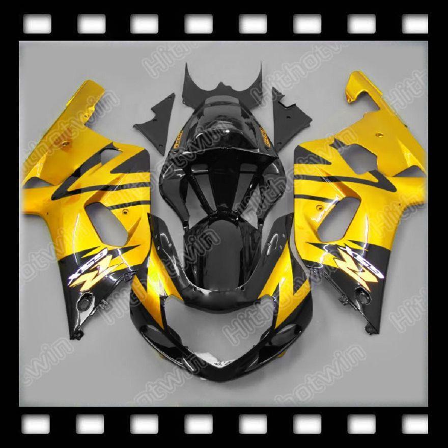 100% NEW Gold Black for SUZUKI GSXR600 GSXR750 GSX R600 R750 GSXR 600 750 K1 01 02 03 ABS Fairing