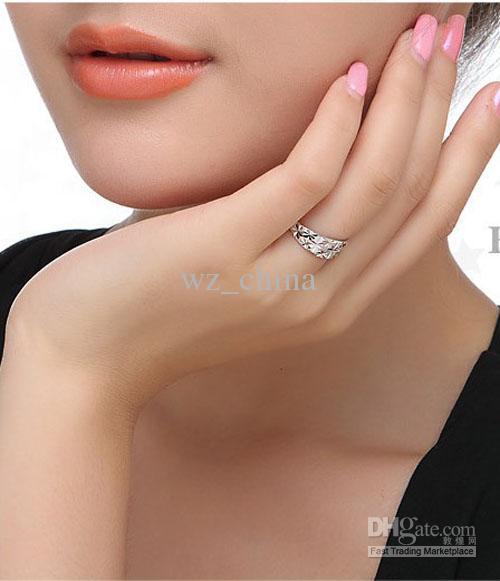 925 Anéis de prata esterlina para as mulheres Branco que chapeamento de ouro de cobre amor anéis abertos para casal 4mm novo! Frete grátis
