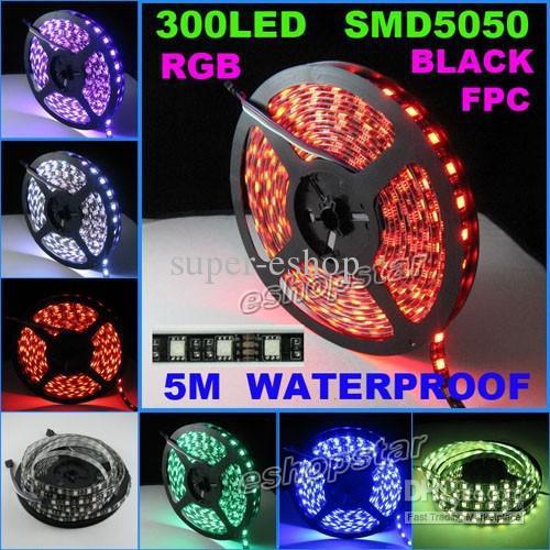 5M RGB LED Bande Lumineuse 5050 SMD 300 LED étanche avec Contrôleur IR REMOTE noir