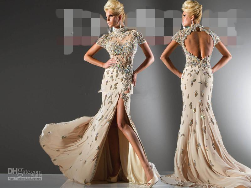 2013 Champagne High Neck Lace Evening Dresses with Cap ... Lace Prom Dresses 2013