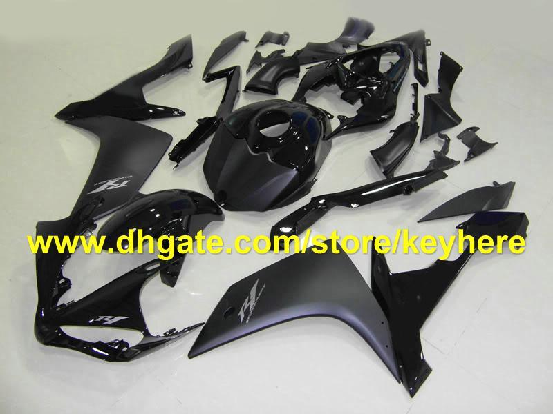 CALIENTE! Moda todo el cuerpo negro carenado kit para YAMAHA YZF-R1 YZF R1 2007 2008 YZFR1 07-08 carenados RX1o