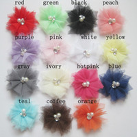 """Wholesale Tulle Flower Rhinestone Center - 2.5"""" Tulle Mesh Flowers With Rhinestone Pearl Center Poof Mini Flowers headbands Accessories"""