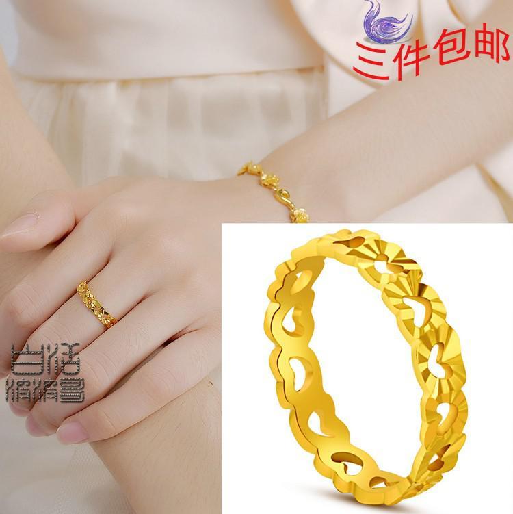 Hollow Heart Shaped Models Women High Imitation Gold Rings ...