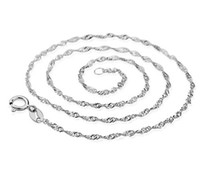 Wholesale Sterling Silver Gold Plated Chain - 925 Sterling Silver Overlay Necklace Chain White GOLD Wedding Bridal Water Necklace Link Chain For Women Laides 20pcs Brand NEW! Free Shippi