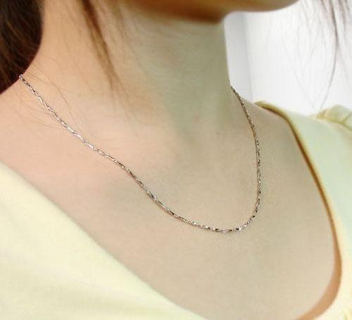 925 Sterling Silver Overlay Necklace Chain White GOLD Wedding Bridal Water Necklace Link Chain For Women/Laides Brand NEW! Free Shippi