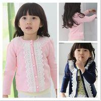 Wholesale Christmas Pink Cardigan - 2016 new spring autumn Children's girl lace decorative border cardigan T shirt kid coat 5pcs lot