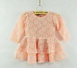 Wholesale Petal Fold - Girls Hollow Out Budsilk Dresses Folded Double Flower Modelling Dresses Children Clothing