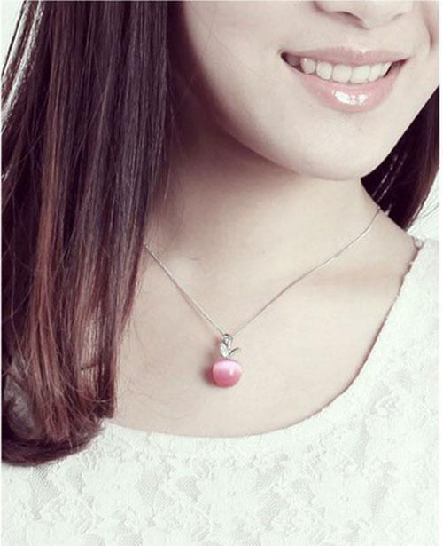 Collana in argento sterling 925 Collana in oro bianco Placcatura in oro bianco Catena di nozze Occhio di gatto opalino Diamante svizzero / collana di cristallo pendente rosa / bianco nuovo