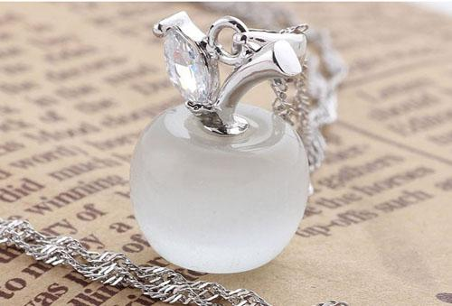925 Sterling Silver Pendant Necklace White Gold Plating Wedding Chain Opal Cat's eye Swiss Diamond/Crystal Apple Pendant Necklace New