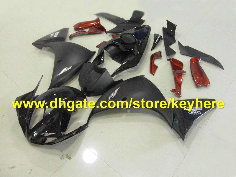 HOT!flat glossy black red fairing kits for YAMAHA 2009 2010 2011 YZF 1000 YZF R1 YZFR1 09 10 11 RX3a
