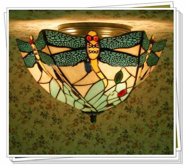 2017 Tiffany Style Colorful Glass Ceiling Light Flush Mount With 3