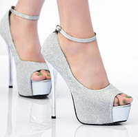 Novo Silver White Glitter Wedding Bride Ankle Stappy Pumps Tamanho 40