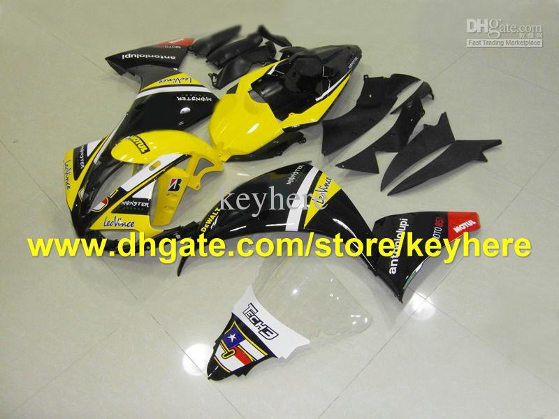 Personalizar kits de carenagem preto amarelo para YAMAHA 2009 2010 2011 YZF 1000 YZF R1 YZFR1 09 10 11 RX5a