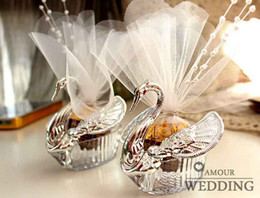 Wholesale Candy Box Silver - 30Pcs Lot Romantic Swan Candy Boxes Wedding Favor Gift Box 2015 Hot Sale Style Favor Holders