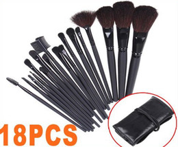Wholesale 18 Piece Makeup Brush Set - 18 PCS Professional Makeup Brush Set Make up Sets Tools with Leather Case, Free Shipping, Dropship