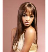 super long cheveux bruns achat en gros de-Freeshipping Populaire 32 pouces Super Long Cheveux Bruns Femme Mode Perruque Synthétique Cheveux Complet Perruques Haute Température Fibre