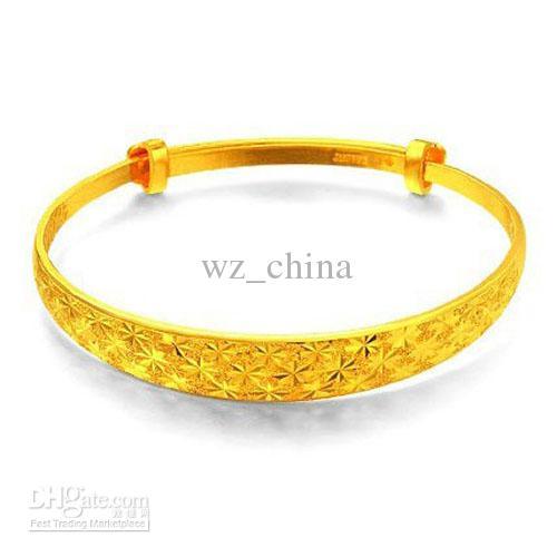 Brand New Fashion Ladies Jewelry 24K oro giallo gioielli da sposa placcato oro polsino polsino braccialetti di fascino le donne Freeship