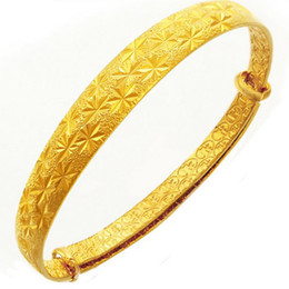 Wholesale 24k Gold Wedding Bangles - Brand New Fashion Ladies Jewelry 24K Yellow Gold Plated Wedding Jewelry Bridal Gold Cuff Bangle Charm Bracelets For Women Freeship