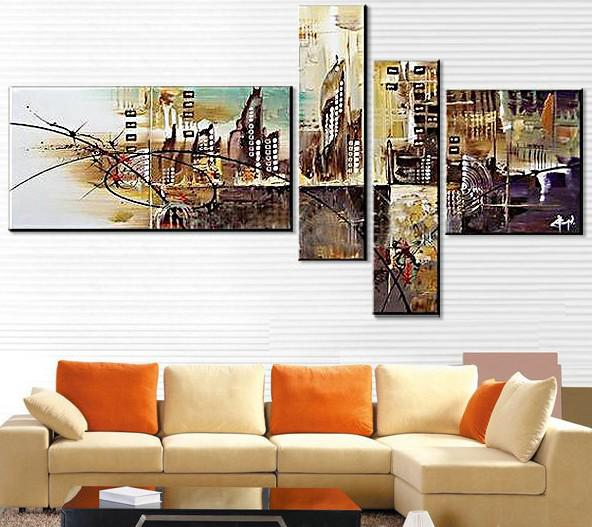 2019 Abstract Oil Painting Canva Floating City Mirage