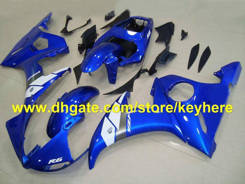 hot sale blue gary black ABS fairing kits for YAMAHA YZF R6 03-05 YZF-R6 2003-2005 YZFR6 03 04 RX2A
