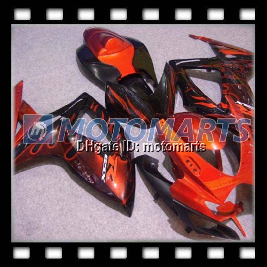 100% NEW Orange flames for SUZUKI GSXR600 GSXR750 GSX R600 R750 GSXR 600 K6 06 07 2006 2007 Fairing