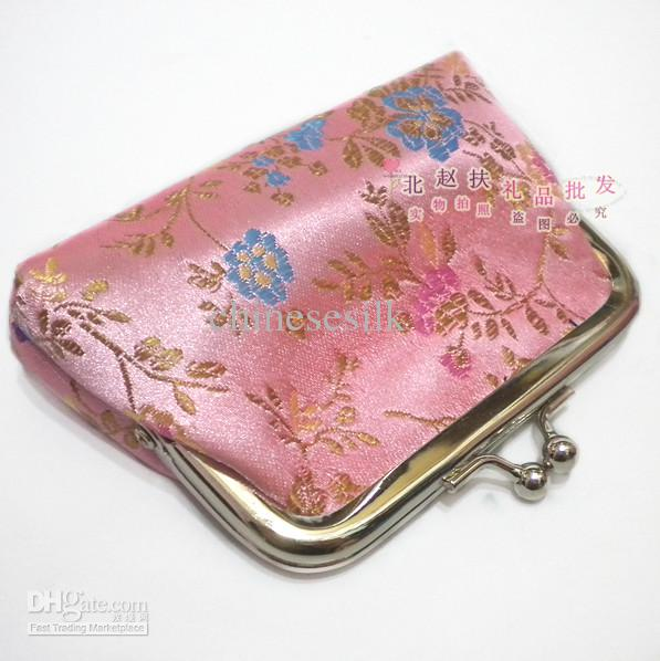 NEW WHOLESALE MIX COLOR SILK POUCH JEWELRY ZIPPER BAGS COIN CHANGE PURSE