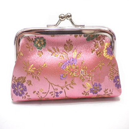 Wholesale Ladies Coin Purses Cloth - Novelty High Quality Ladies Coin Purses Weddings Party Favor Metal Clasp Silk Cloth Coin Bags 10pcs lot mix Color Free shipping