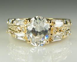 Luxo 18k Solid Gold amarelo banhado cristal Zircon Gemstone anel de ouro de noivado amantes casamento casal anel, frete grátis em Promoção